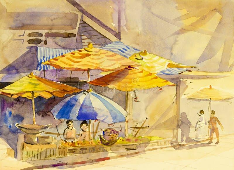 Peinture originale de paysage d'aquarelle colorée de la vie de famille illustration de vecteur
