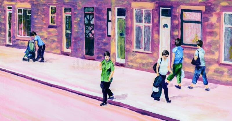 Peinture originale des personnes sur une rue en été illustration libre de droits