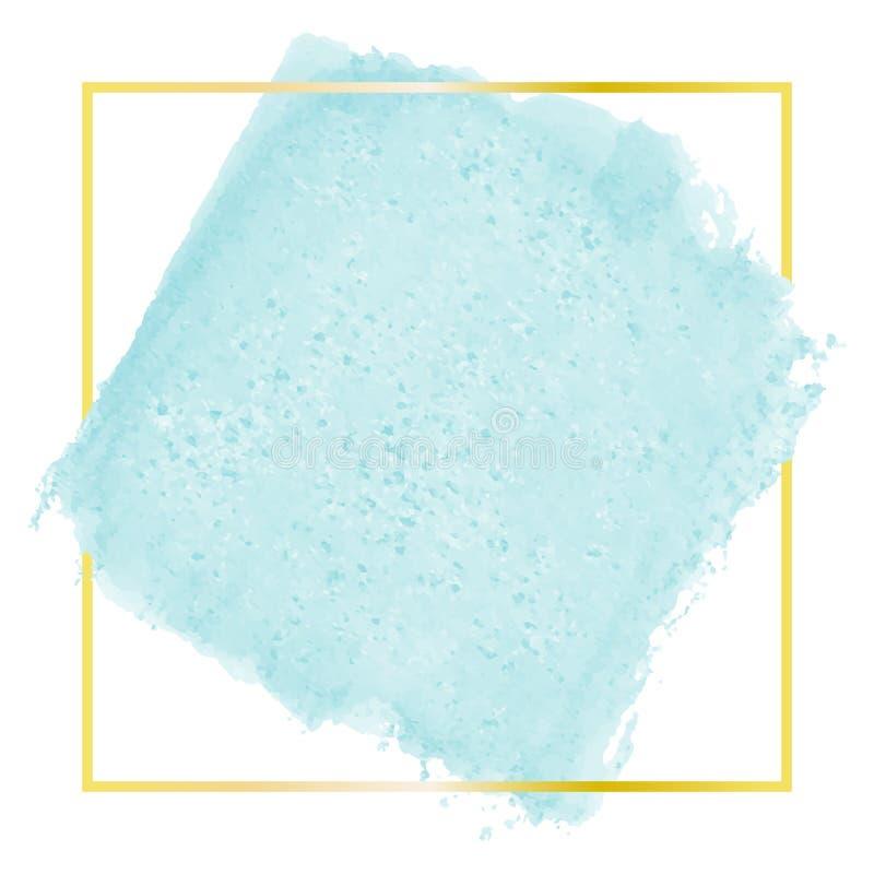 Peinture peinte à la main d'aquarelle de vecteur - tache colorée verte bleue mignonne de turquoise d'isolement sur le fond blanc  illustration de vecteur