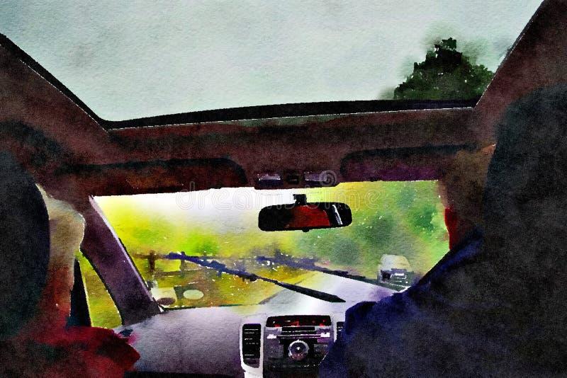Peinture pour aquarelle Vue de pare-brise de l'intérieur de voiture illustration stock