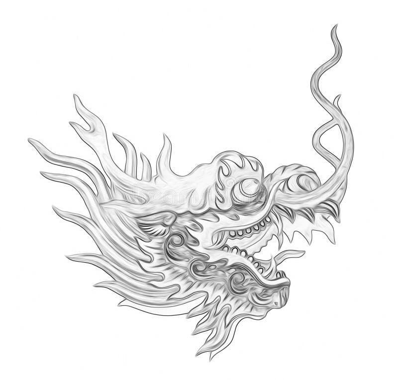 Peinture principale de dragon d'isolement sur le fond blanc illustration libre de droits