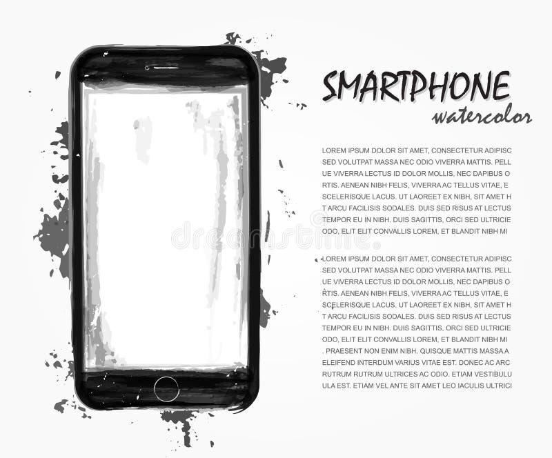 Peinture réaliste d'aquarelle de smartphone avec la couleur d'éclaboussure Vecteur technologique artistique Vous pouvez employer  illustration de vecteur