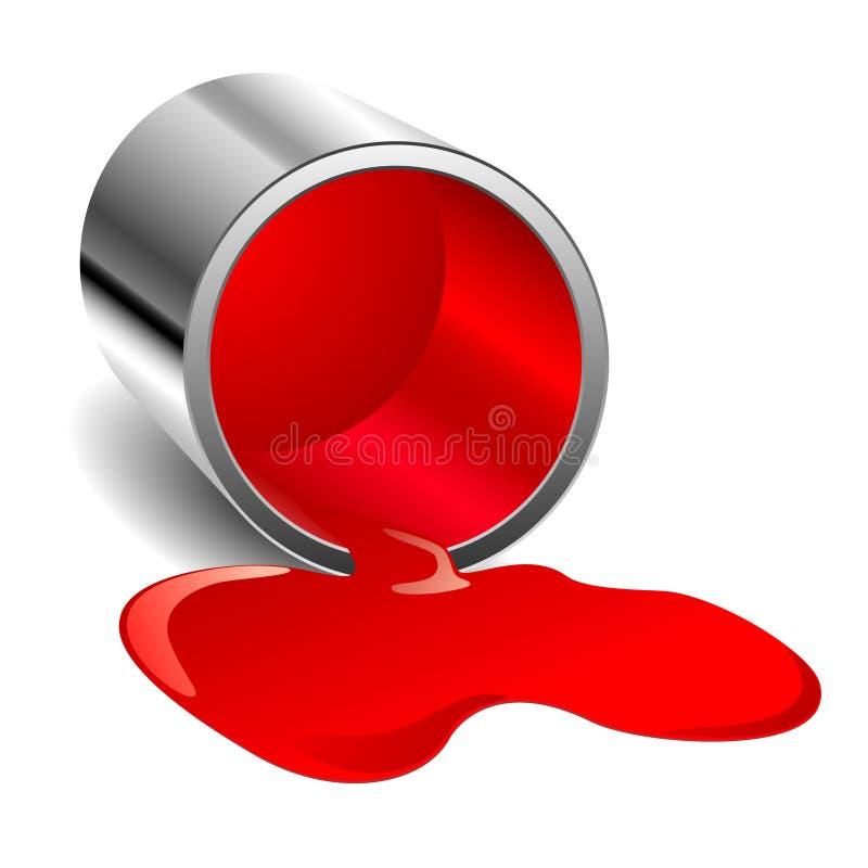 Peinture renversée rouge illustration libre de droits