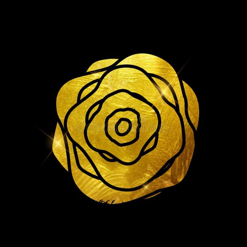 Peinture Rose Flower Art Illustration texturisée éclatante d'or Vec illustration stock