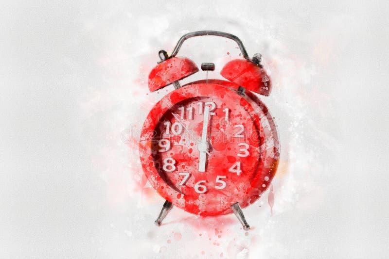 Peinture rouge d'aquarelle de réveil sur le fond blanc, style numérique d'art, photographie stock