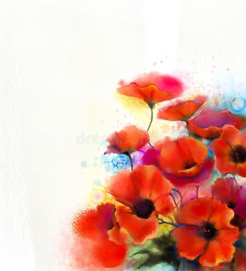 Peinture rouge de fleur de pavot d'aquarelle Fleurs de pavots de peinture de main illustration de vecteur