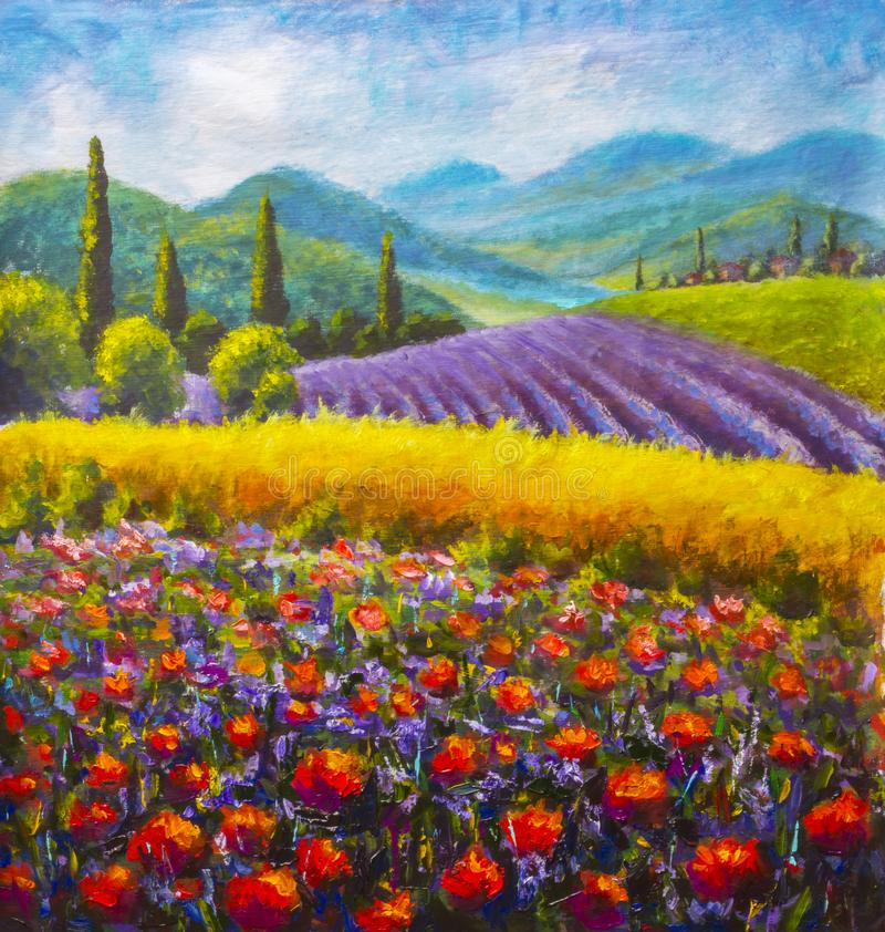 Peinture rouge de pavots Campagne italienne d'été Français Toscane Champ de seigle jaune Maisons rurales et hauts arbres de cyprè photo libre de droits