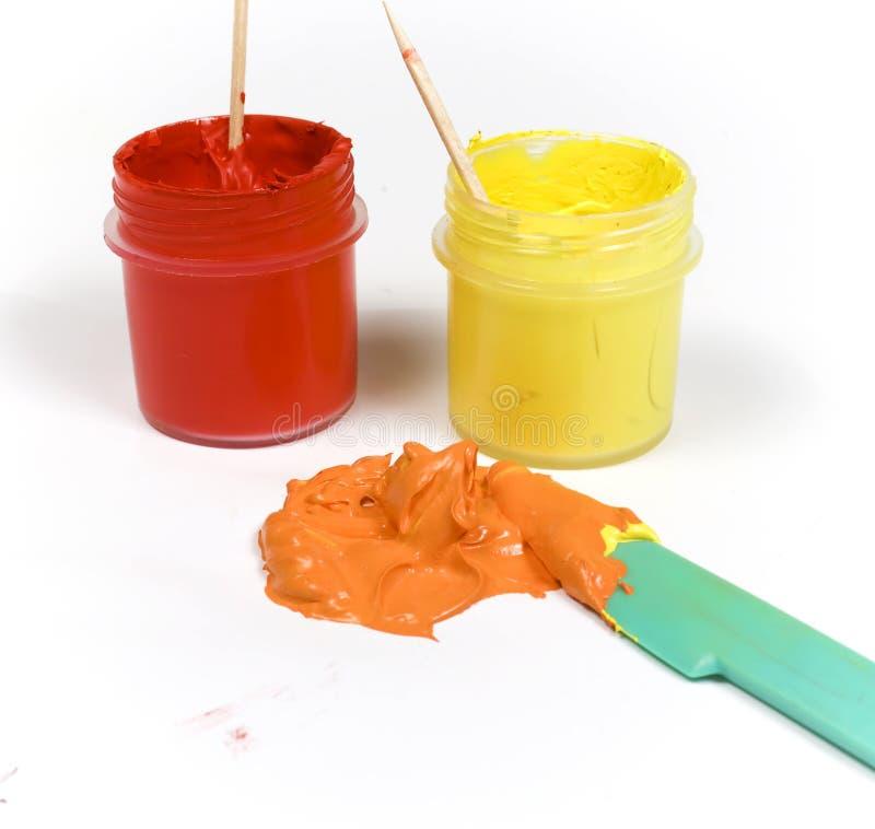 Peinture rouge et jaune mélangée photos libres de droits