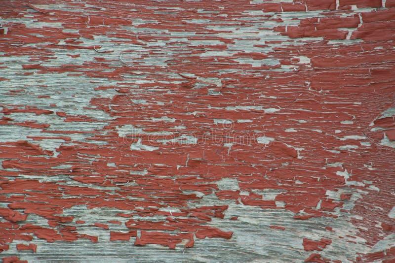 Peinture rouge superficielle par les agents d'épluchage sale sur le vieux contreplaqué gris images libres de droits