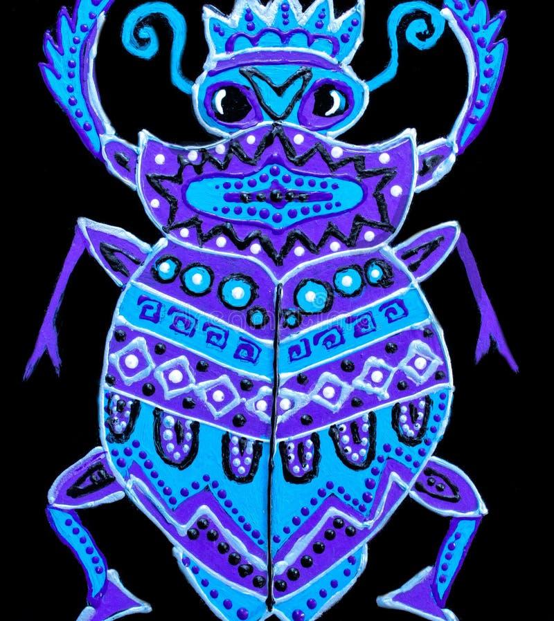 Peinture, scarabée lilas peint avec des ornements illustration libre de droits