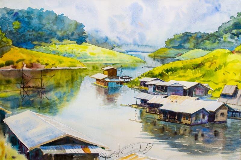 Peinture sur coloré de papier de la maison de réservoir et de pêcheur illustration stock