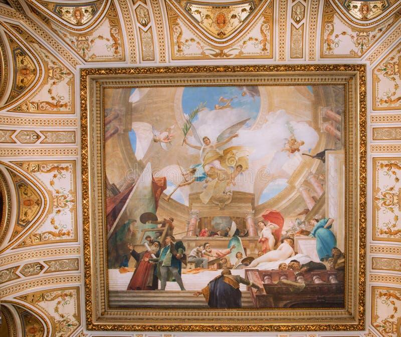 Peinture sur le plafond de l'escalier grand du  photographie stock