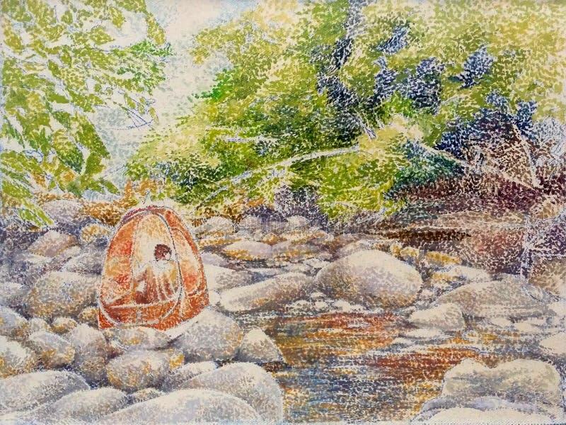 Peinture thaïlandaise de plan rapproché d'huile d'encre de rivière de roche de cascade illustration stock