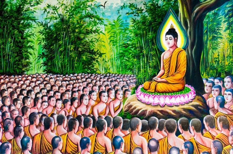 Peinture thaïlandaise traditionnelle de style sur le mur de temple illustration stock