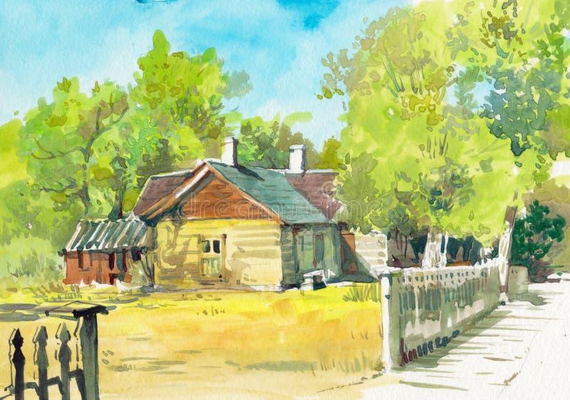 Peinture tirée par la main d'aquarelle de cottage illustration stock