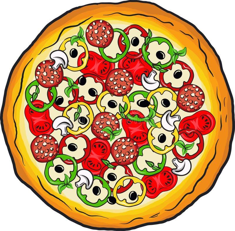 Peinture tirée par la main de vecteur de pizza avec du fromage illustration stock
