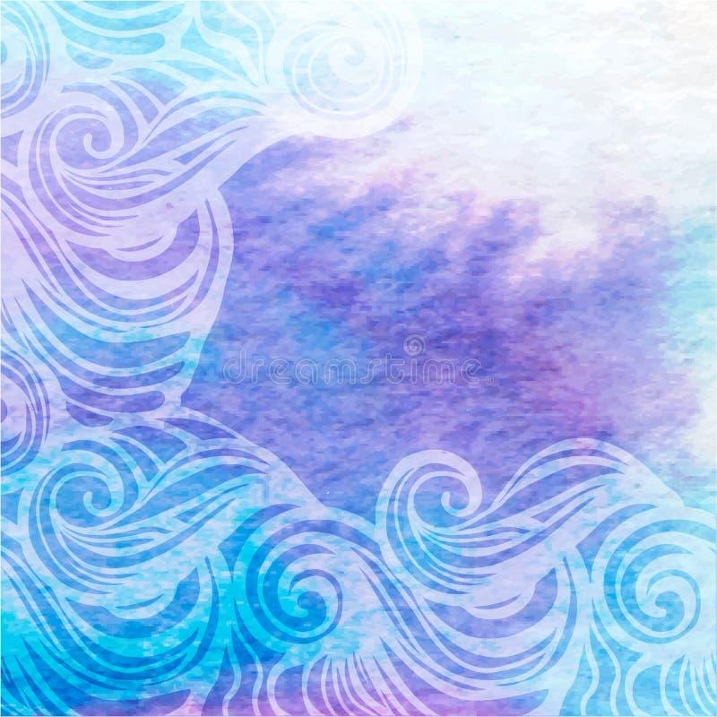 Peinture tirée par la main fond-abstraite de vecteur d'aqua d'aquarelle illustration stock