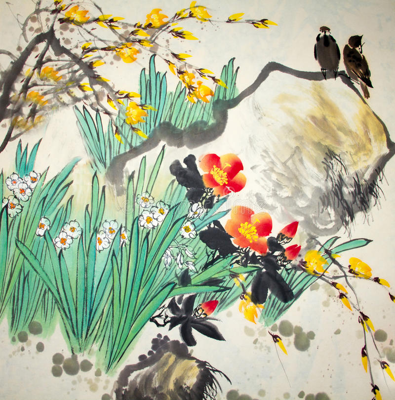 Peinture traditionnelle chinoise image stock