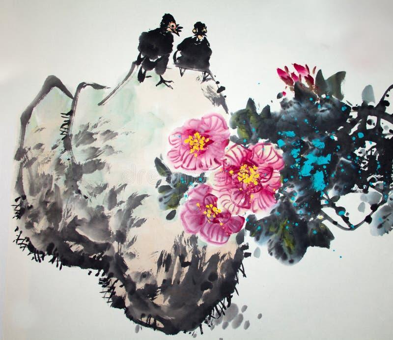 Peinture traditionnelle chinoise images libres de droits