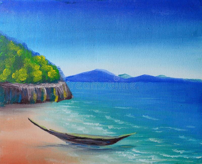 Peinture tropicale de plage images libres de droits