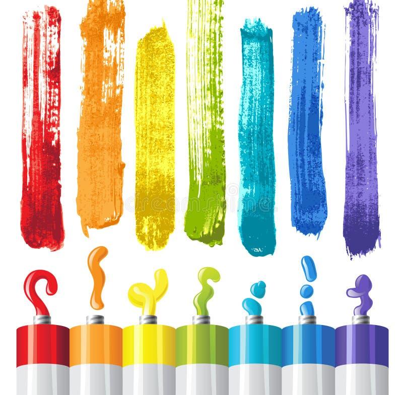 Peintures à l'huile illustration stock