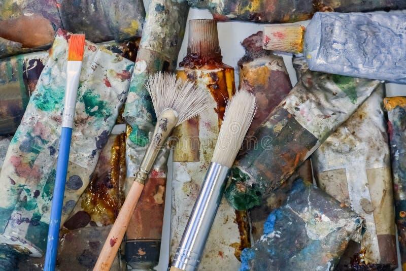 Peintures à l'huile d'artistes image libre de droits