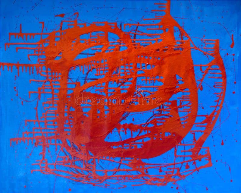 Peintures abstraites de peinture d'avant-garde sur la couleur rouge et bleue de mur images libres de droits