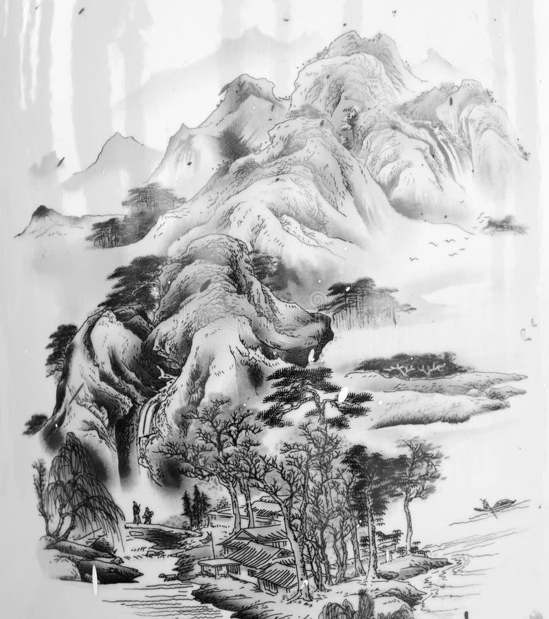 Peintures chinoises des montagnes illustration stock