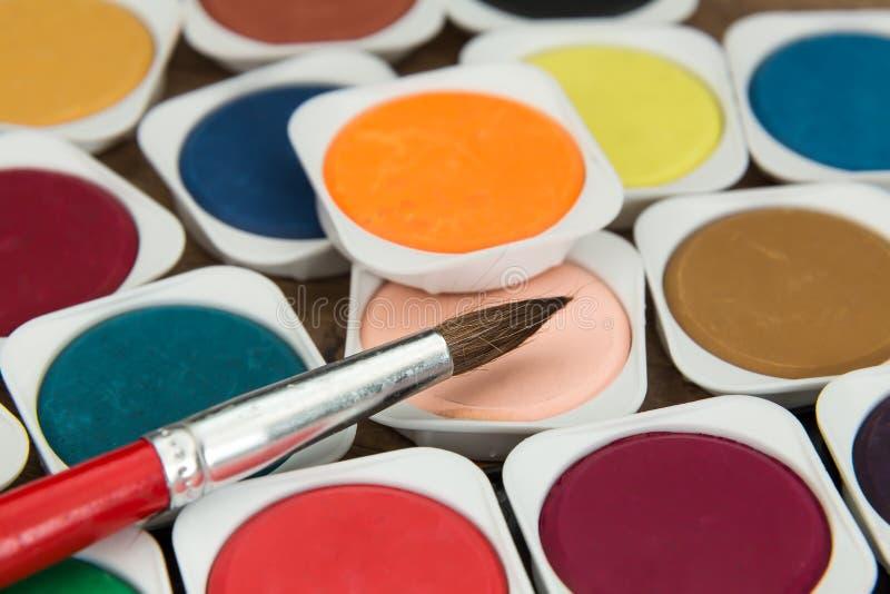 Download Peintures D'aquarelle Réglées Avec La Brosse Image stock - Image du brun, neuf: 76079299