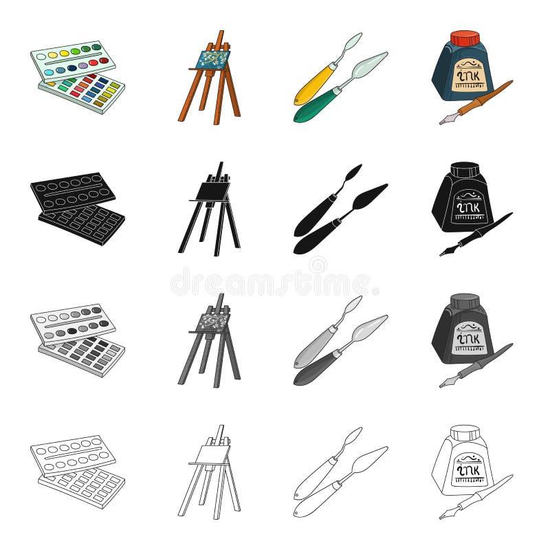 Peintures d'aquarelle, un artiste de chevalet, une spatule pour dessiner, un stylo et un encrier encastré Icônes réglées de colle illustration stock