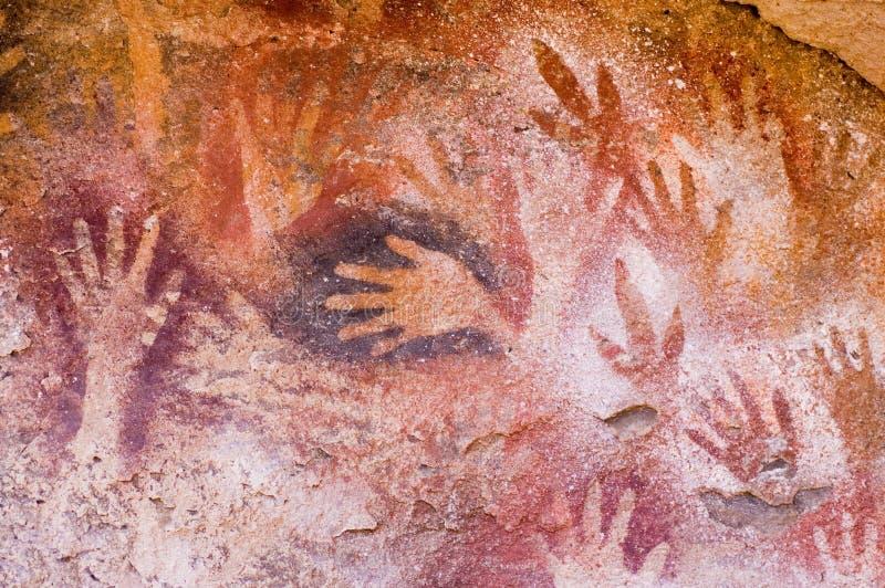 Peintures de caverne antiques dans le Patagonia photographie stock libre de droits