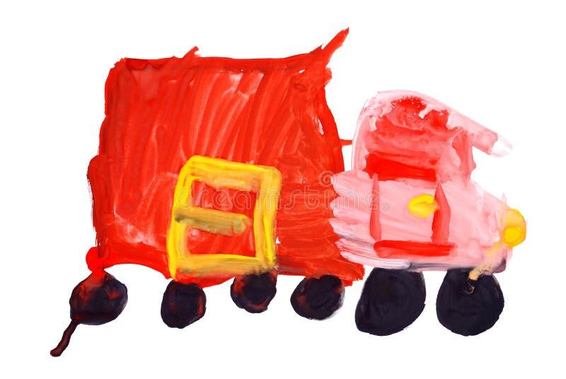 Peintures de couleur d'eau du retrait des enfants. Camion rouge illustration libre de droits
