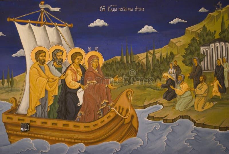 Peintures de graphisme dans l'intérieur de monastère photographie stock libre de droits