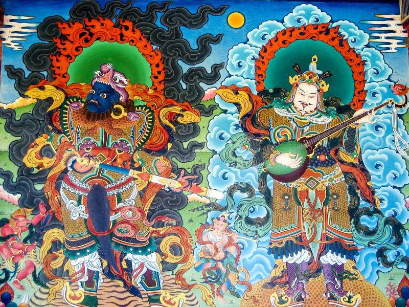 Peintures de mur dans le monastère de Namdroling photographie stock