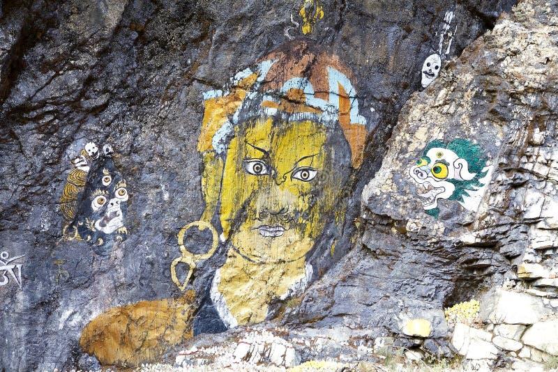 Peintures de roche, Bhutan images libres de droits