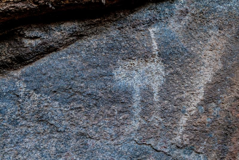 Peintures de roche d'un site sacré antique près de Cafayate, Argentin photos libres de droits