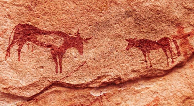 Peintures de roche dans le désert de Sahara, Algérie images libres de droits