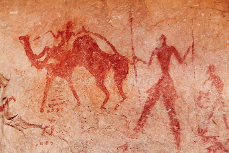 Peintures de roche de Tassili n'Ajjer, Algérie photographie stock libre de droits