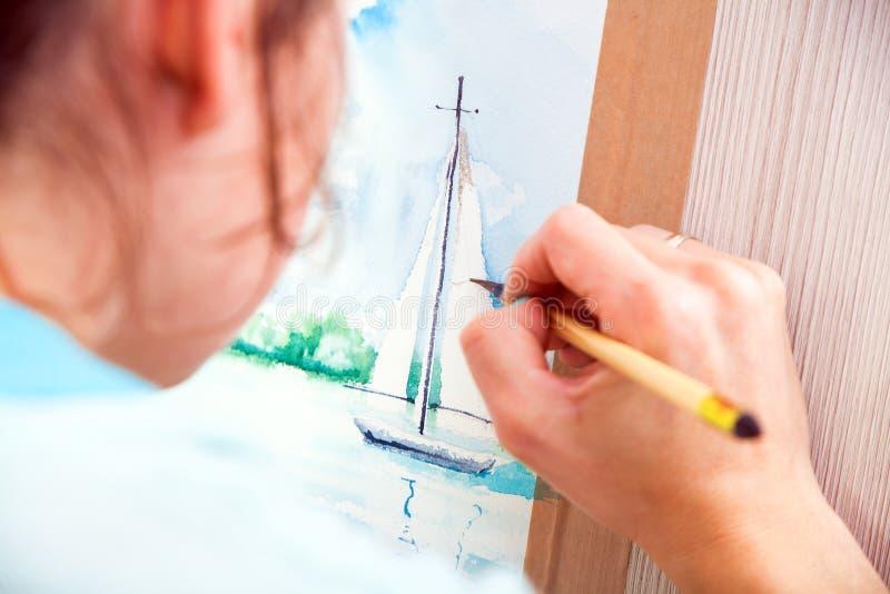 Peintures en gros plan d'artiste photographie stock libre de droits