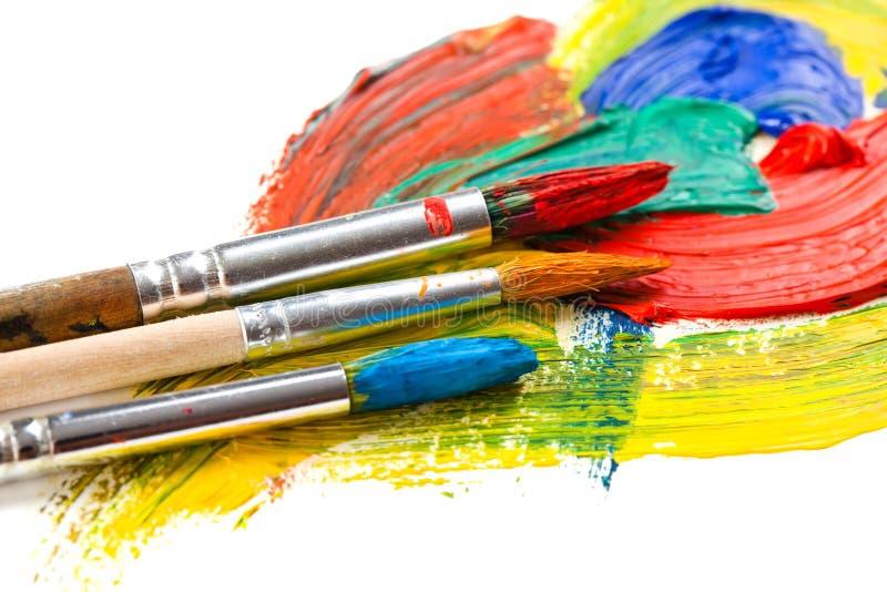 Peintures et brosses photos libres de droits