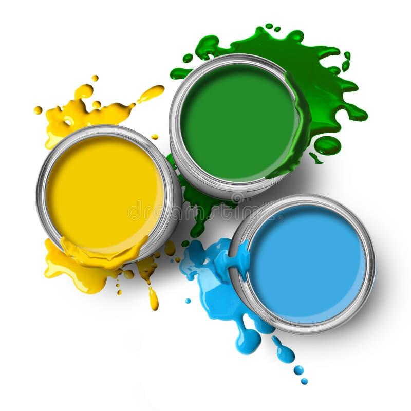 Peintures jaunes vert-bleu de couleur photographie stock libre de droits