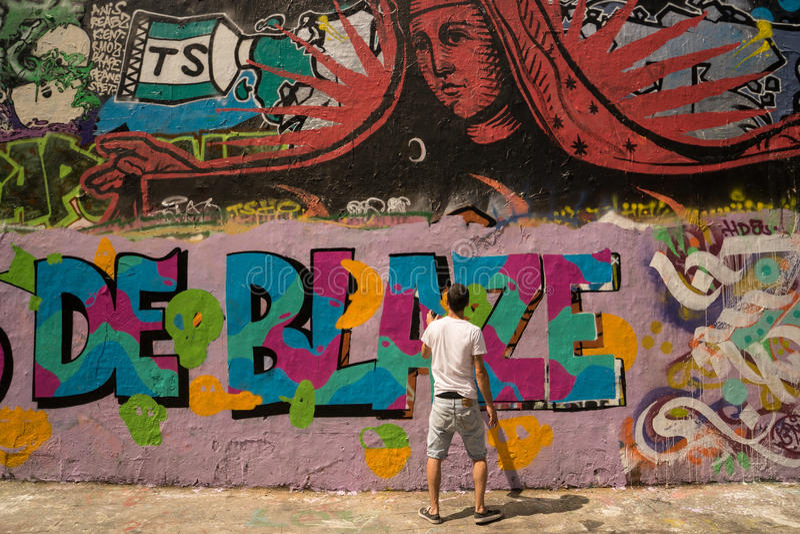 Peintures murales d'art de rue de graffiti de PARIS, FRANCE 25 juillet 2016 images libres de droits