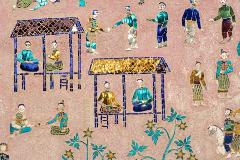 Peintures murales de lanière de xieng de wat photographie stock