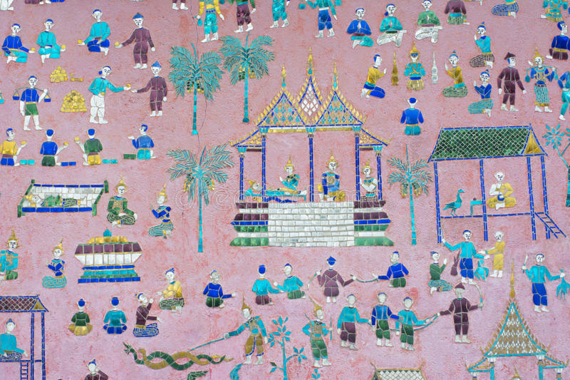 Peintures murales de lanière de xieng de wat images stock