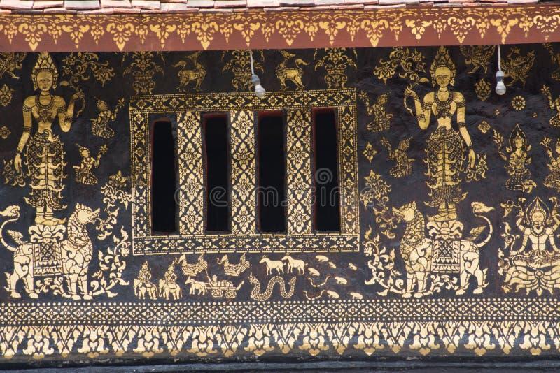 Peintures murales de lanière de xieng de wat images libres de droits