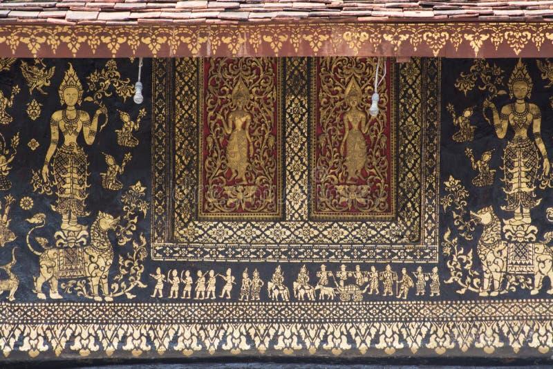 Peintures murales de lanière de xieng de wat photos stock