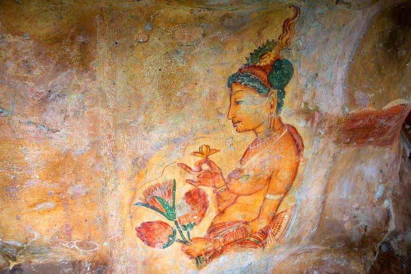 Peintures murales de Sigiriya de 5ème siècle image stock