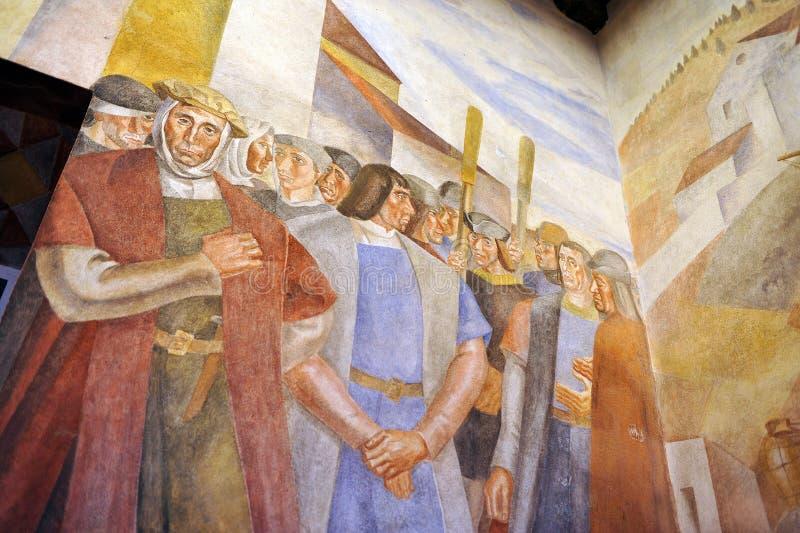 Peintures murales du monastère de la La Rabida, Huelva, Espagne photos libres de droits