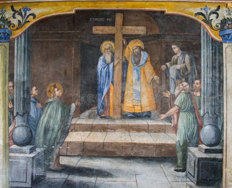 Peintures murales sur l'église de la mère sainte de Dieu, Plovdiv, Bulgarie photos libres de droits