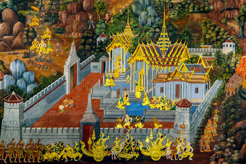 Peintures murales thaïlandaises chez Wat Phra Kaew à Bangkok, Thaïlande photographie stock